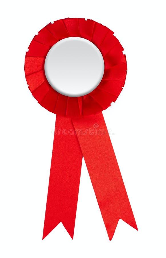 Rosette de gain de bande de récompense rouge blanc d'isolement photos stock