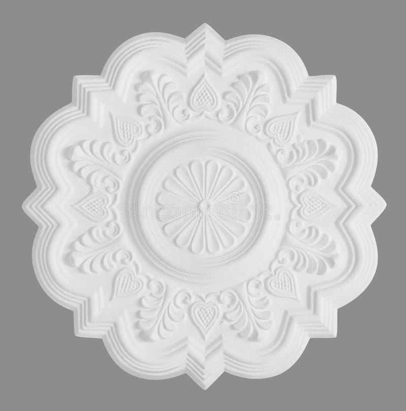 Rosette de moulage de stuc, d'isolement sur le gris illustration libre de droits