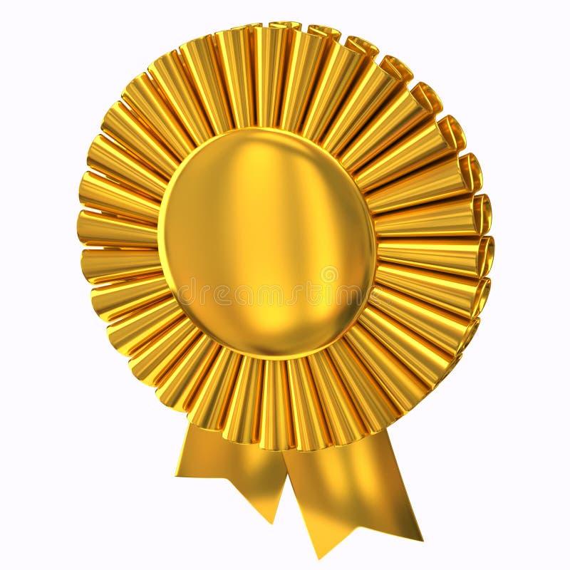 Rosette dourado da fita da concessão ilustração stock
