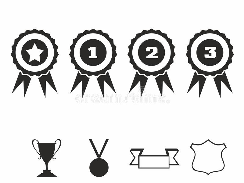 Rosette icons. Vector illustration Icon set of award badges. Medals with ribbons.race car motor stock illustration