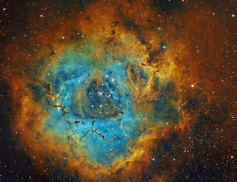 Rosette Nebula i Unicorn-konstellation, NGC2237 arkivbild
