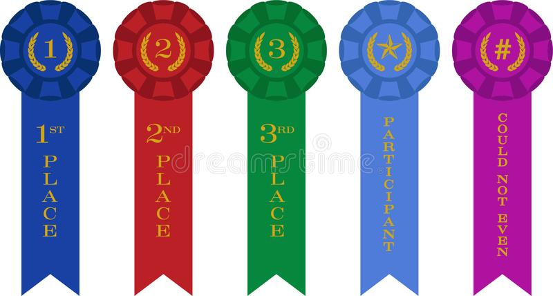 Rosette Ribbon Awards Incl. Can`t Even and Participation. Vector illustration of ribbon awards for first, second, third, participant and `could not even` for royalty free illustration