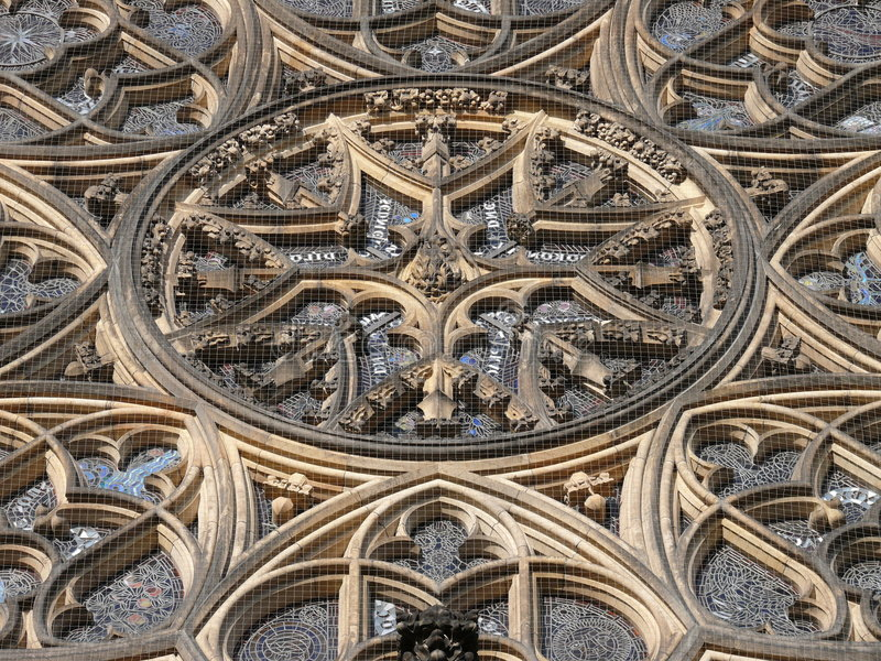 Rosette of St Vitus Cathedral. Prague royalty free stock photos