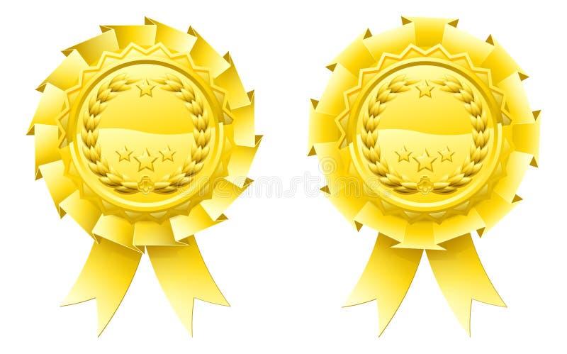 Rosettes de laurier de gagnants d'or illustration de vecteur