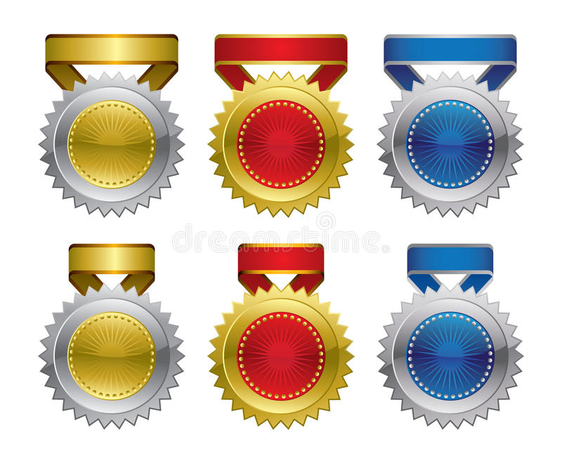 Rosettes de médaille de récompense illustration de vecteur