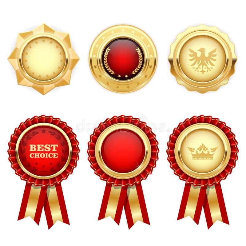 Rosettes rouges de récompense et médailles héraldiques d'or illustration libre de droits
