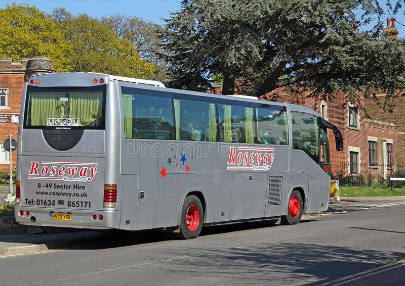 Roseway coach tours. Photo of a silver Roseway tours coach parked up in the town of whitsable in kent enroute to destination! april 2016 ideal for coach tours royalty free stock photography