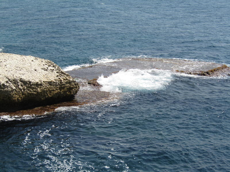 Stones rocks and cliffs on the sea in Rosh Hanikra Israel stock image