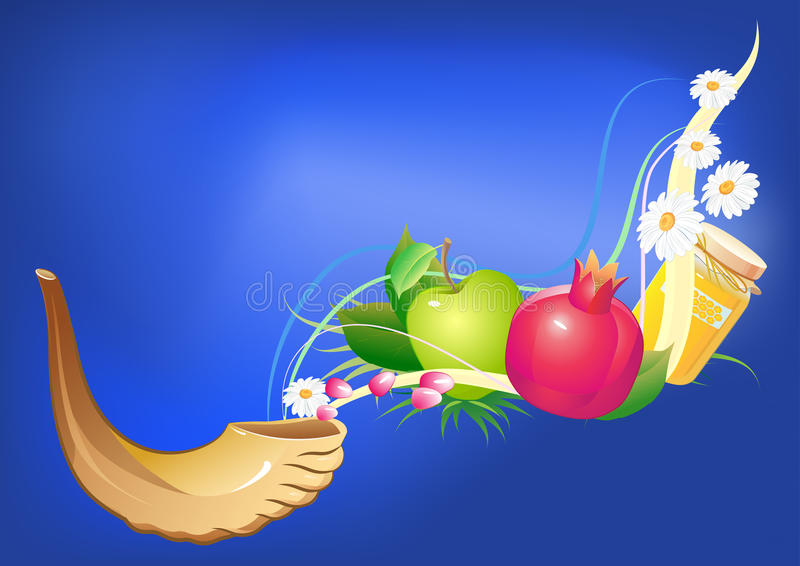 Rosh hashana traditional jewish holiday stock illustration