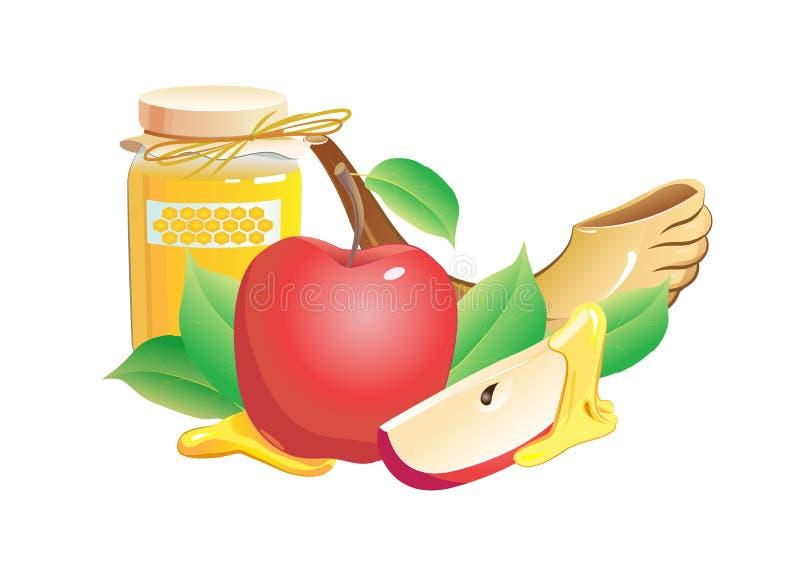 Rosh hashana tradycyjny wciąż życie. jabłko, miód ilustracji