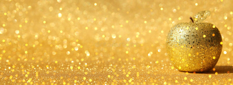 Rosh hashanah & x28; żydowski nowego roku holiday& x29; pojęcie Tradycyjny symbol, dekoracyjny błyskotliwości złota jabłko zdjęcia stock