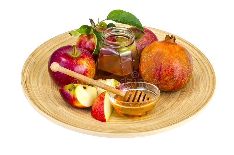 rosh hashanah εβραϊκή έννοια διακοπών Μέλι, μήλο και ρόδι στο ξύλινο πιάτο στοκ εικόνες με δικαίωμα ελεύθερης χρήσης