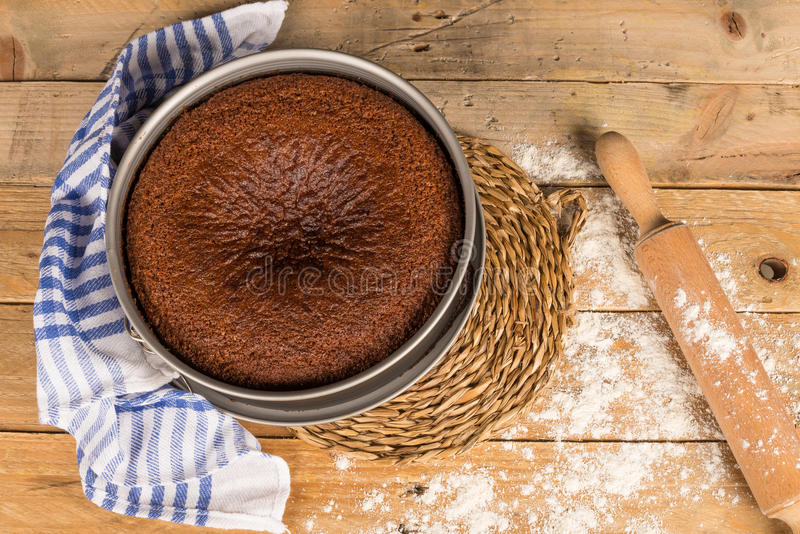 Rosh Hashanah cake. A traditional homemade Rosh Hashanah cake still in its baking tin stock image
