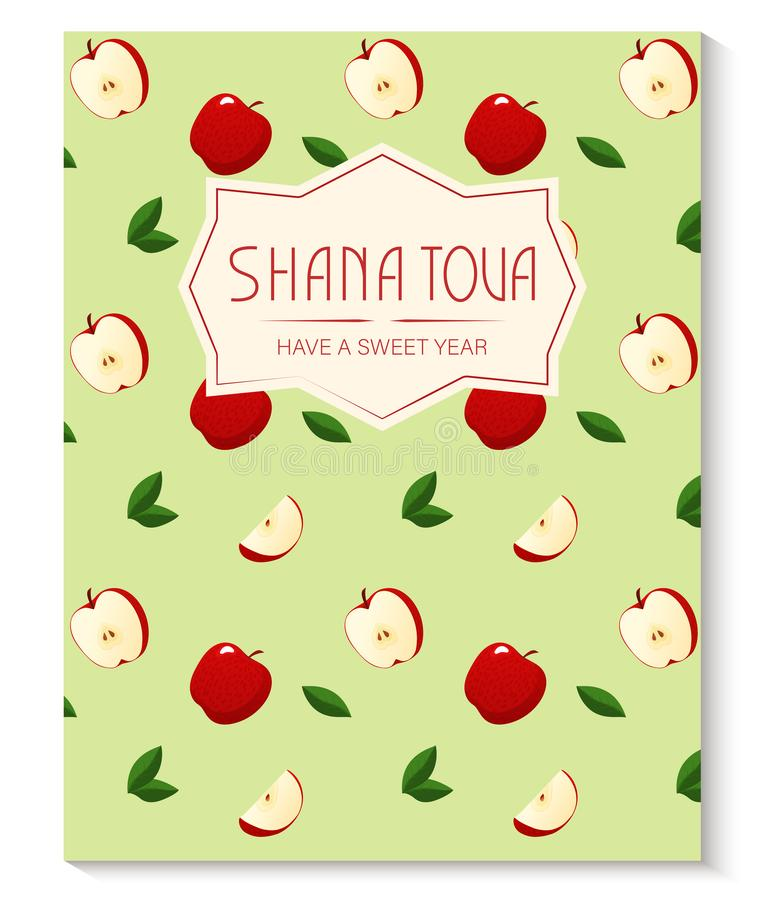Rosh Hashanah greeting card with apple pattern. Jewish New Year. Shana Tova, new year in Hebrew. Vector illustration vector illustration