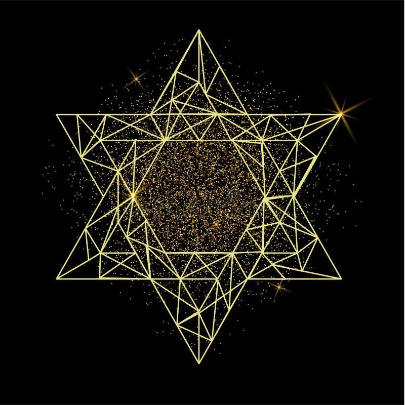 Rosh Hashanah hälsningkort med den gula polygonal davidsstjärnan vektor illustrationer