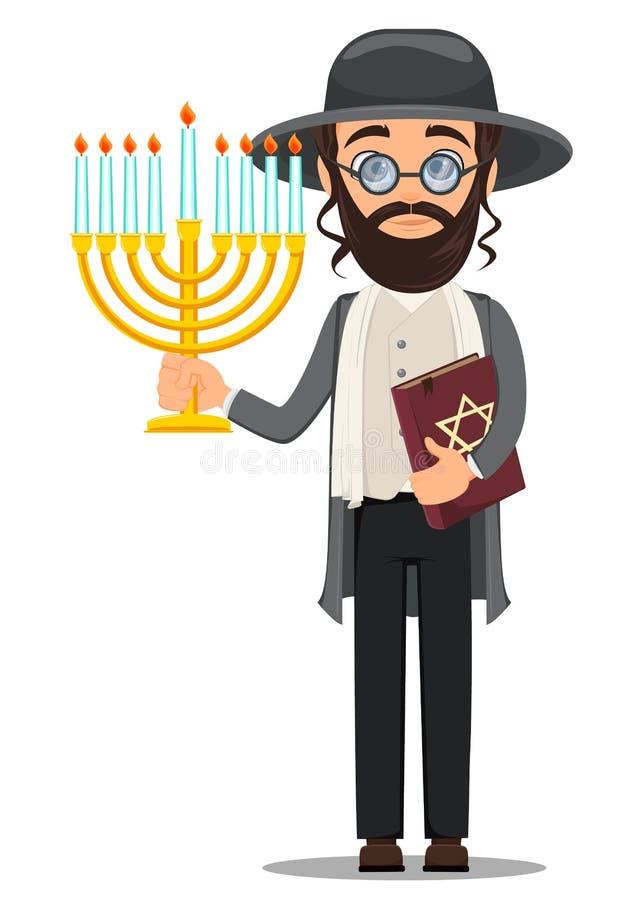 Rosh Hashanah Homme de juif dans des vêtements traditionnels tenant la bible et illustration de vecteur