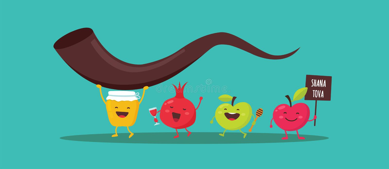Rosh Hashanah Jewish holiday banner design with honey jar, apple and pomegranate funny cartoon characters holding shofar. Jewish horn. Vector illustration vector illustration