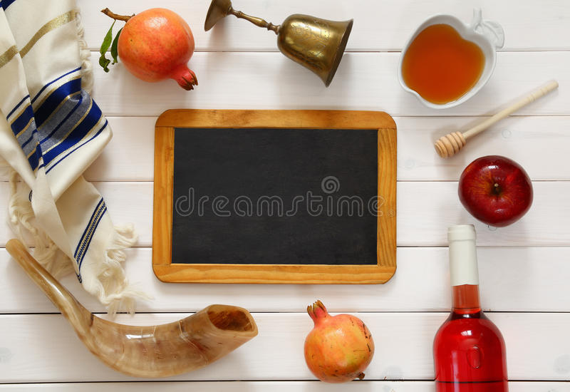 Rosh hashanah (jewish New Year) concept. Traditional symbols. Rosh hashanah (jewish New Year holiday) concept. Traditional symbols royalty free stock images