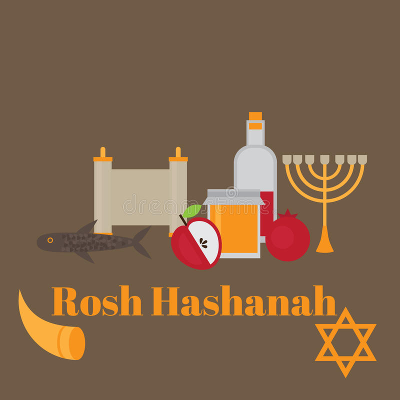 Rosh Hashanah Jewish New Year greeting card. Hebrew symbols. Judaism elements,. Rosh Hashanah Jewish New Year greeting card. Hebrew symbols. Judaism elements vector illustration