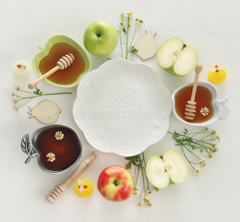 Rosh hashanah & x28;jewish New Year holiday& x29; concept. Traditional symbols.  stock image