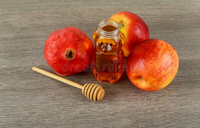 Rosh hashanah jewish New Year holiday concept. Traditional symbols. royalty free stock photography