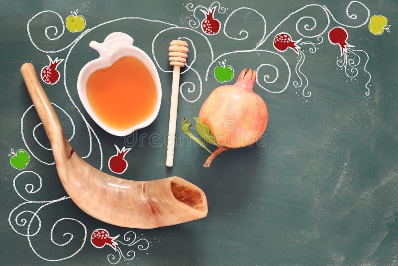 Rosh hashanah (jewish New Year holiday). Traditional symbols stock photos