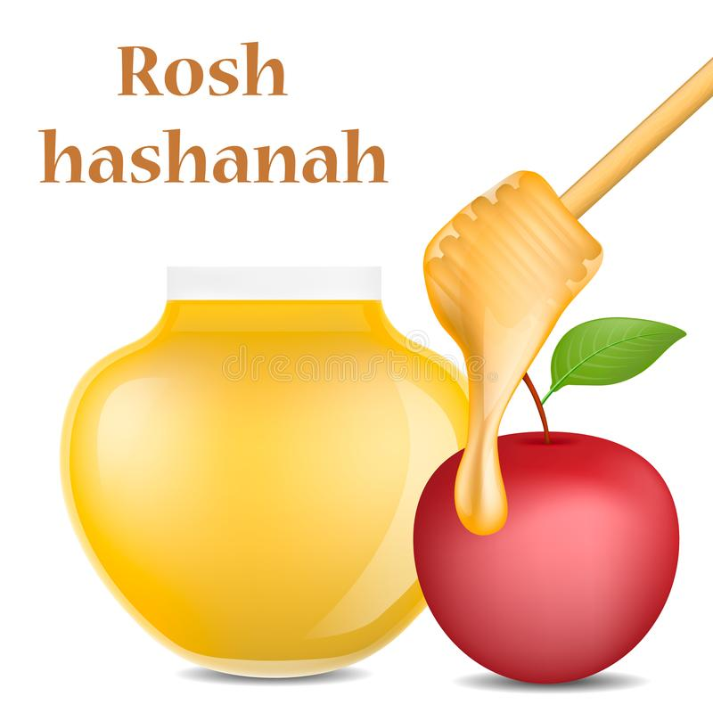 Rosh hashanah jewish religion concept background, realistic style vector illustration