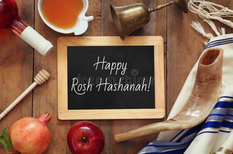 Rosh hashanah & x28; Joodse Nieuwe Year& x29; concept Traditionele symbolen stock foto's