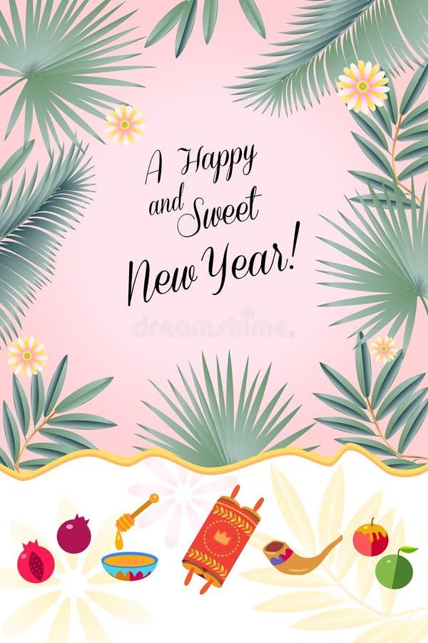 Rosh Hashanah kartka z pozdrowieniami - Żydowscy nowy rok elementy Shana Tova! Miodowy i Jabłczany Torah granatowa wektoru szablo zdjęcie stock