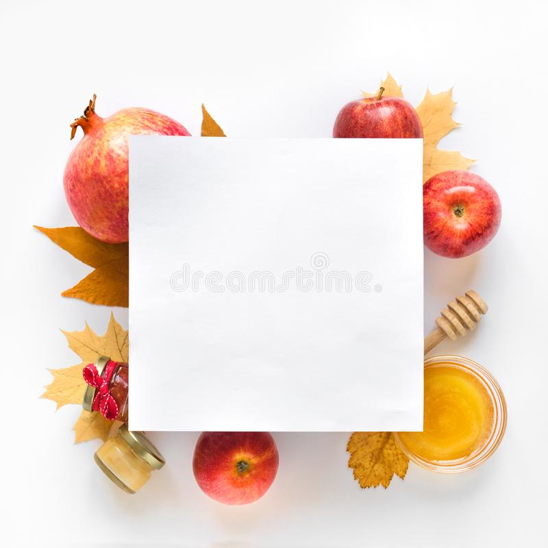 Rosh hashanah. Jewish New Year holiday concept. Creative layout of traditional symbols, top view, copy space royalty free stock image
