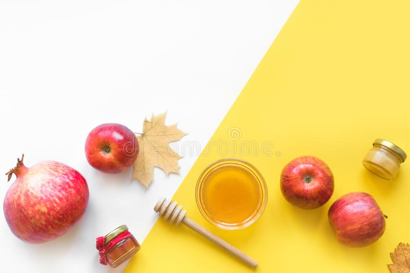 Rosh hashanah. Jewish New Year holiday concept. Traditional symbols, top view, copy space stock photography