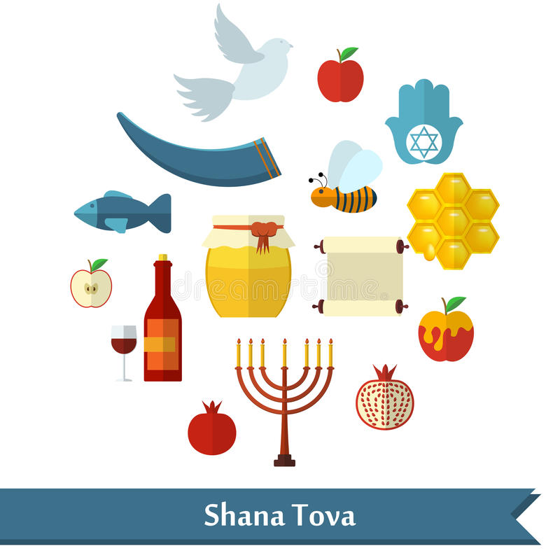 Rosh Hashanah, Shana Tova or Jewish New year flat vector icons set, with honey, apple, fish, bee, bottle, torah and other royalty free illustration