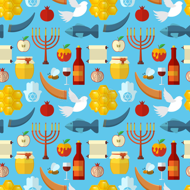 Rosh Hashanah, Shana Tova or Jewish New year seamless pattern, with honey, apple, fish, bee, bottle, torah and other traditional i stock illustration