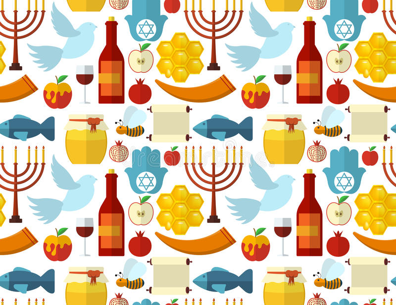 Rosh Hashanah, Shana Tova or Jewish New year seamless pattern, with honey, apple, fish, bee, bottle, torah and other traditional i vector illustration