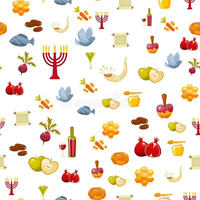 Rosh Hashanah, Shana Tova lub Żydowskiego nowego roku bezszwowy wzór z miodem, jabłko, ryba, butelka, torah, sałata, data royalty ilustracja