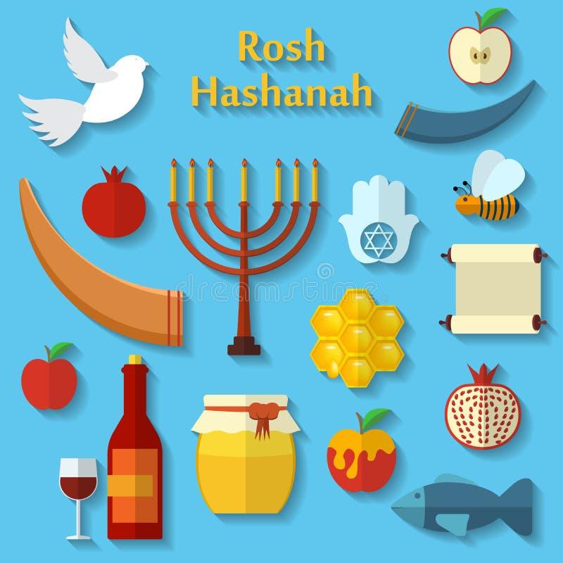 Rosh Hashanah, Shana Tova ou os ícones lisos judaicos do vetor do ano novo ajustaram, com mel, maçã, peixes, abelha, garrafa, tor ilustração royalty free