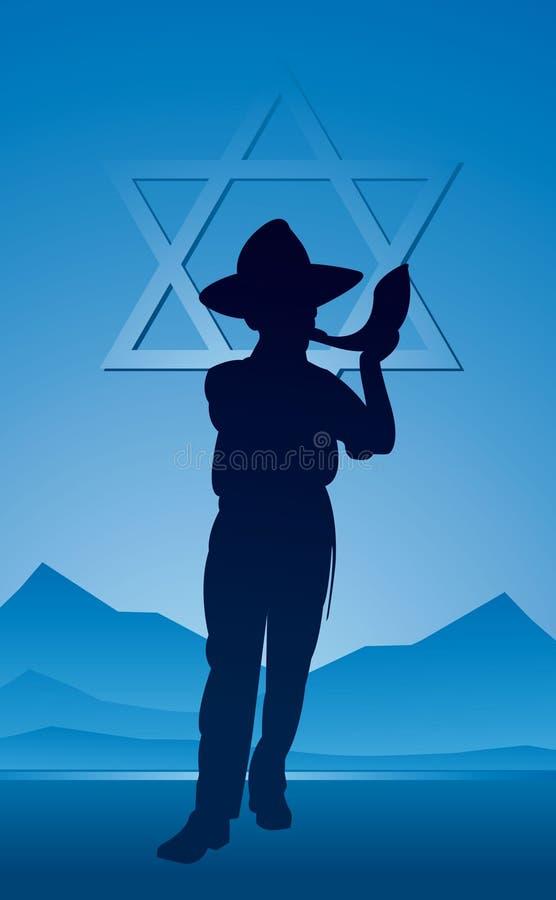 Rosh Hashanah, soplando, Shofar ilustración del vector