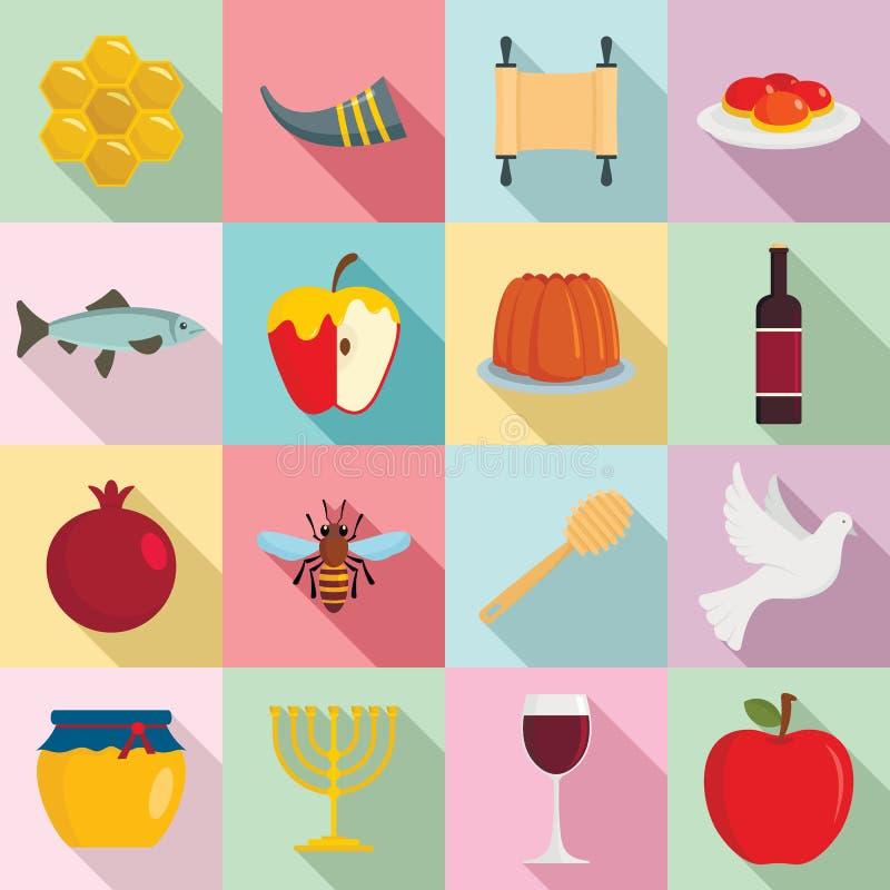 Rosh Hashanah ställde judiska feriesymboler in, plan stil vektor illustrationer