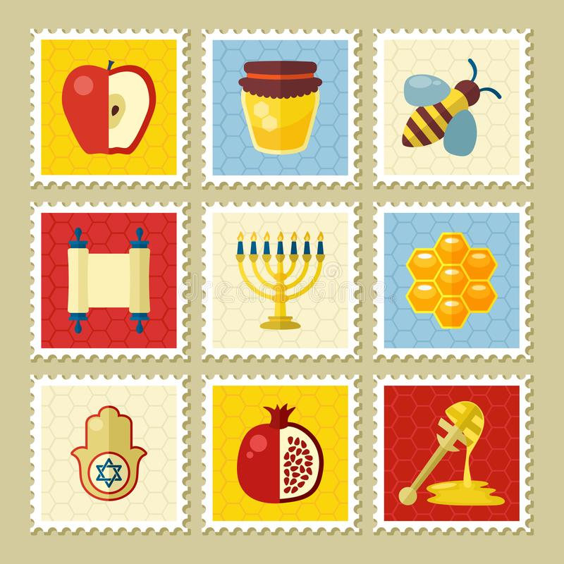 Rosh Hashanah stamp. Shana tova. Happy and sweet new year in Hebrew vector illustration