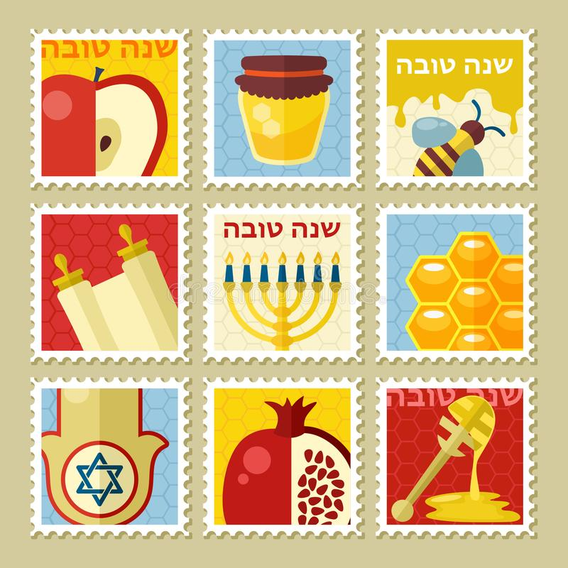 Rosh Hashanah stamp. Shana tova. Happy and sweet new year in Hebrew stock illustration