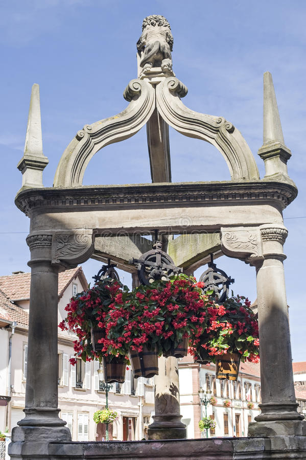 Download Rosheim (Alsace) - Well And Flowers Stock Photo - Image of historic, urban: 27665788