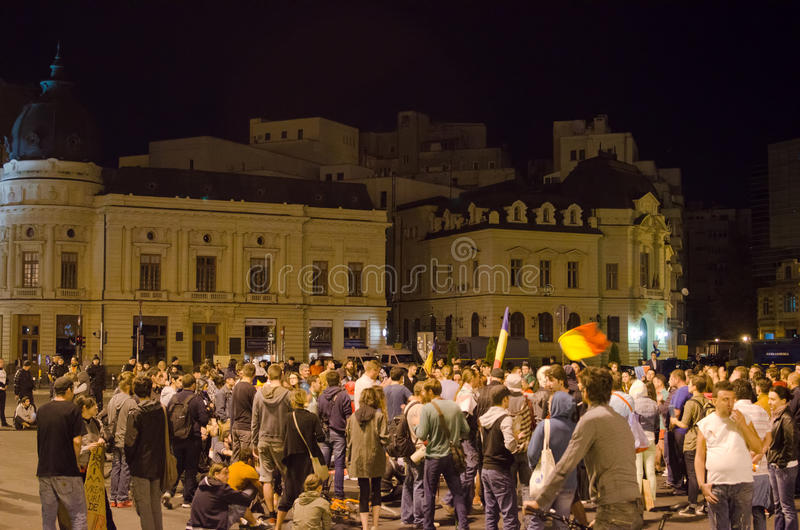 Rosia Montana Protest in Boekarest, Roemenië (1) stock afbeelding
