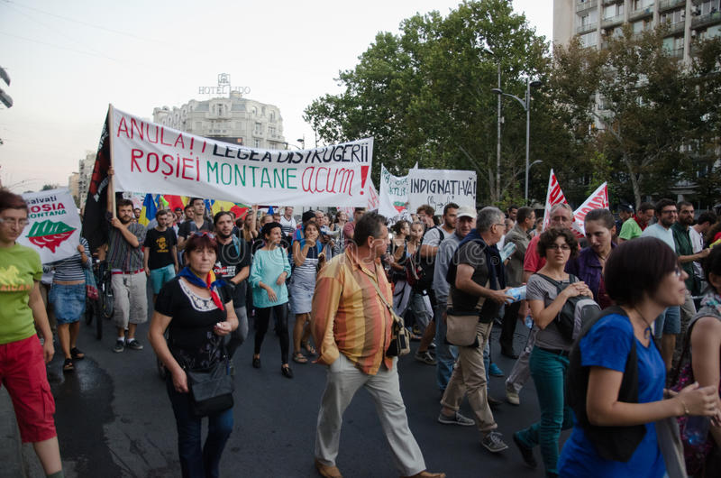 Rosia Montana Protest In Boekarest, Roemenië - 07 September Redactionele Foto