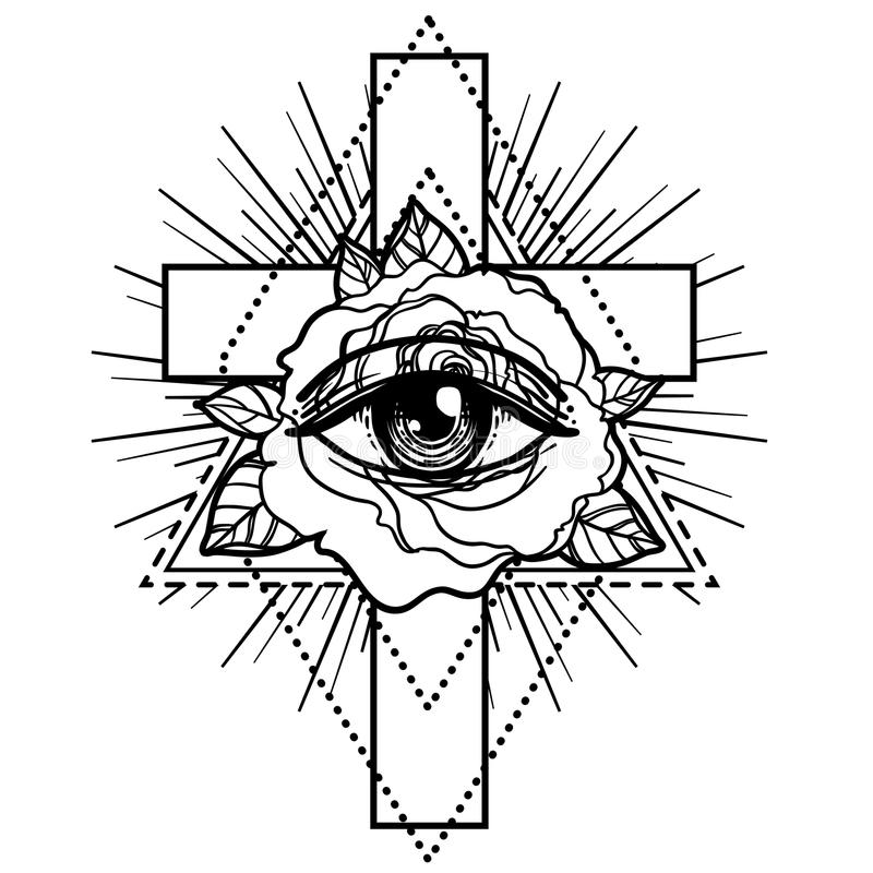 Rosicrucianism Symbol Blackwork Tattoo Flash All Seeing Eye C