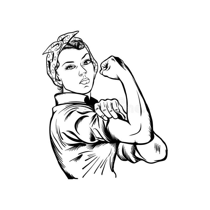 Rosie the riveter vector illustration. International women`s day vector illustration royalty free illustration