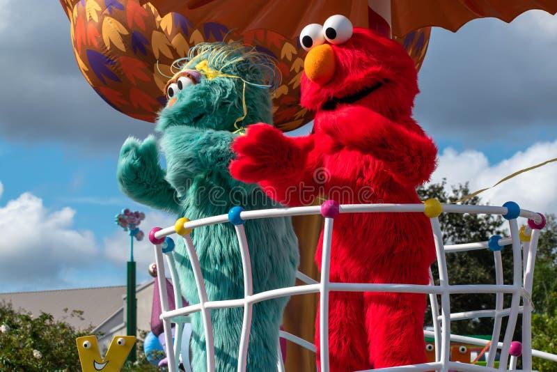 Rosita and Elmo in Sesame Street Party Parade at Seaworld 3. Orlando, Florida. November 06, 2019. Rosita and Elmo in Sesame Street Party Parade at Seaworld 3 royalty free stock images