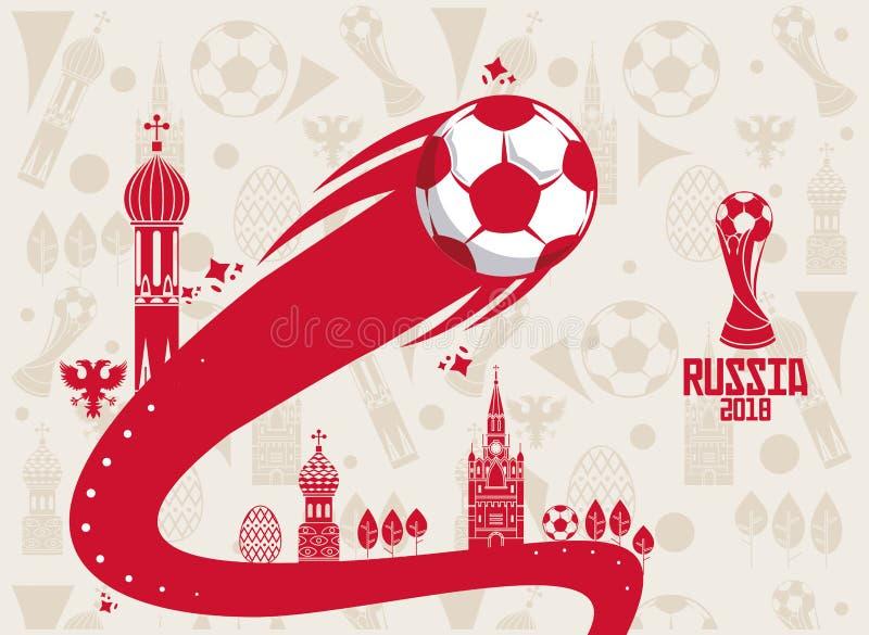 Rosja 2018 światowych piłek nożnych ilustracja wektor