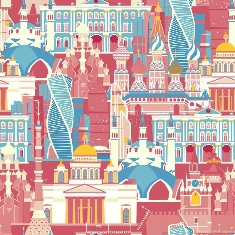 Rosja architektury wektoru wzór Rosyjskiego symbolu bezszwowy tło ilustracja wektor