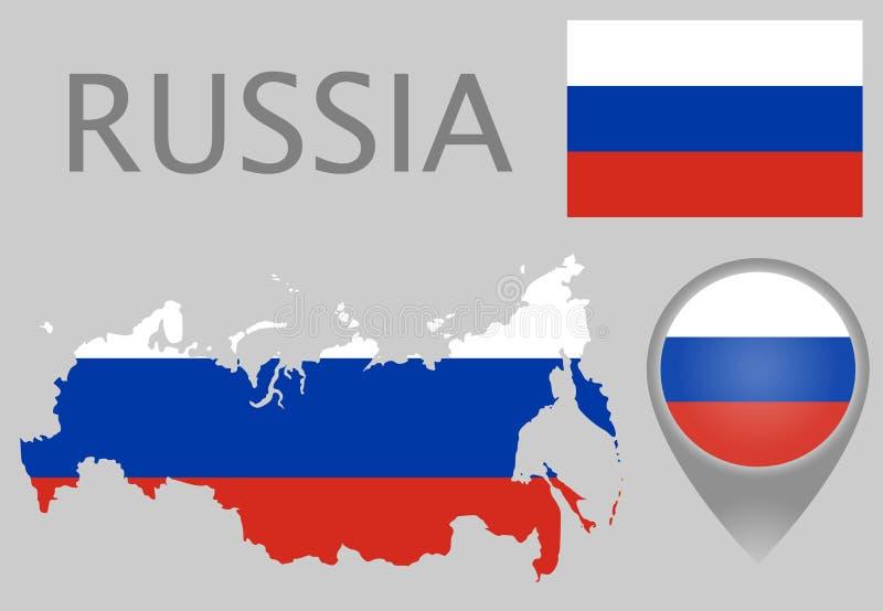 Rosja flaga, mapa i mapa pointer, ilustracja wektor