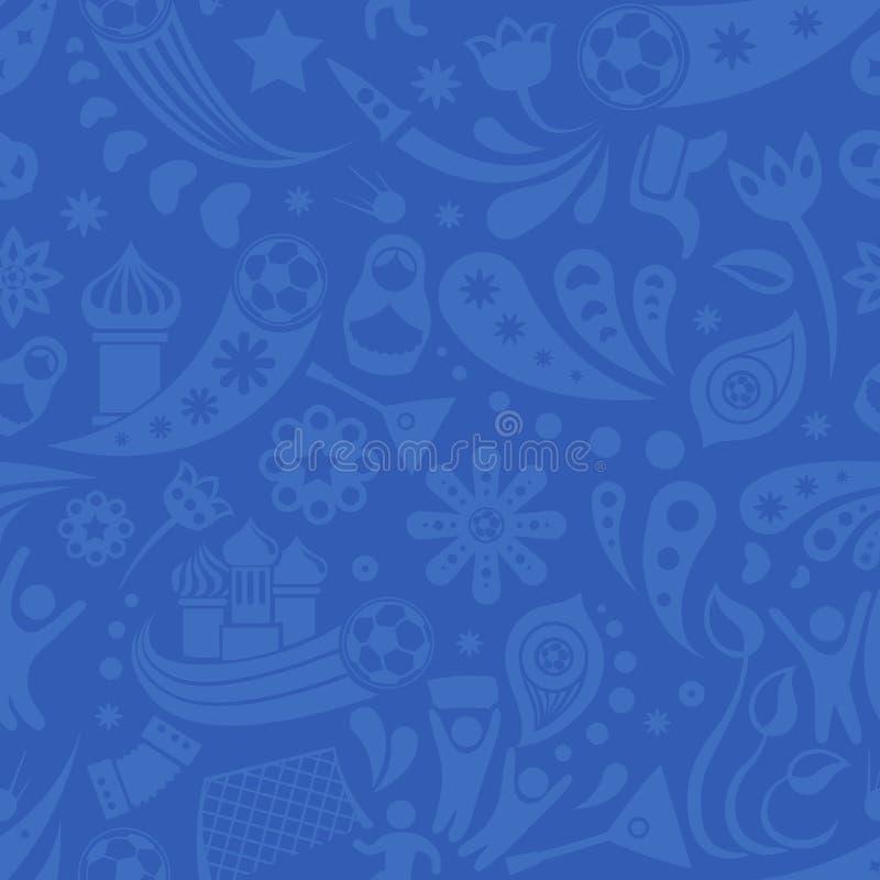 Rosja i futbolowej filiżanki bezszwowy wzór popielaty i błękitny Futbolowy tło z nowożytnymi i tradycyjnymi Rosyjskimi elementami royalty ilustracja